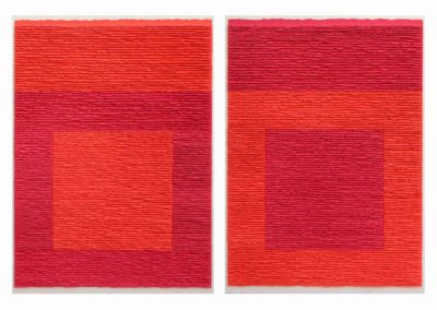 Diptych red structures on red background