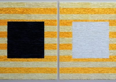 Black and white squares on striped background