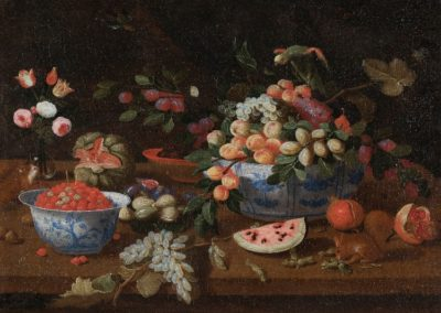 Still life with porcelain, flowers and fruits