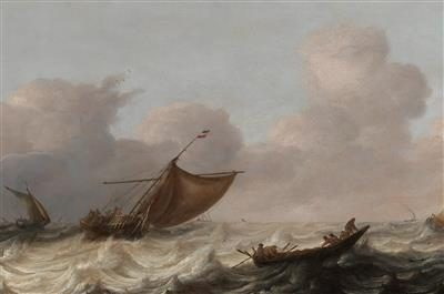 Fishing vessels in a stormy sea