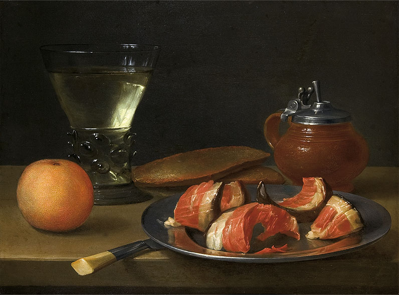 Still Life with Glass of Red Wine, Orange and Ham