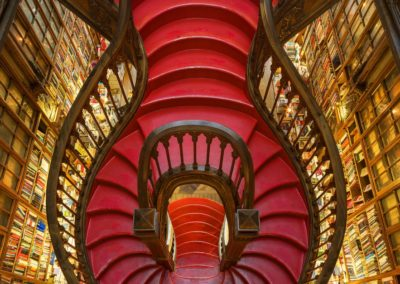 Red Staircase. Lello Bookshop, Portugal