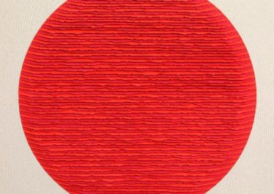 Red circle two-tone striped