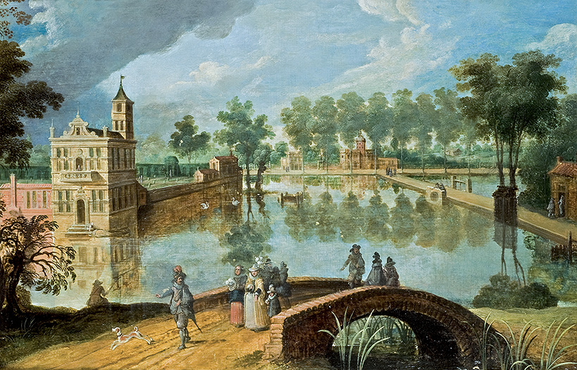 View of a Park with Castle and Lake
