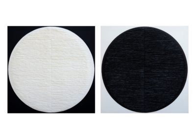 Diptych. Black and white circles on inverted background