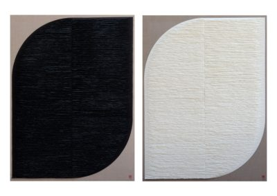 Diptych. Black and white leaf shapes