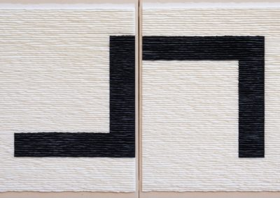 Diptych black structure on white background