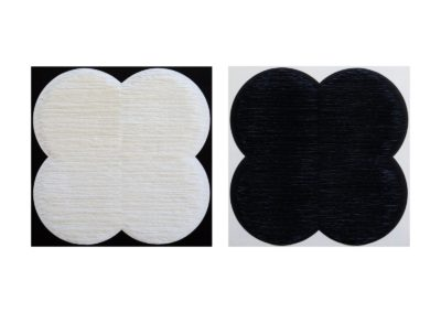 Diptych. Black and white flower shapes on black and white background