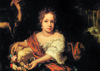 Portrait of Young Girl with Flower Decor